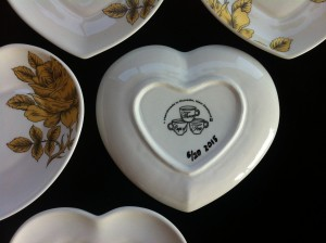 Golden Rose Heart plate limited edition 2015 underside detail.