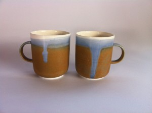 Blue and brown mugs
